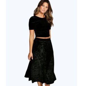 black crushed velvet tiered midi skirt